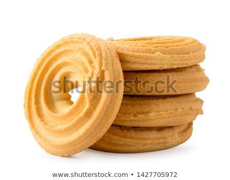 Tereyağı kurabiye hizmet fincan çay tablo Stok fotoğraf © grafvision