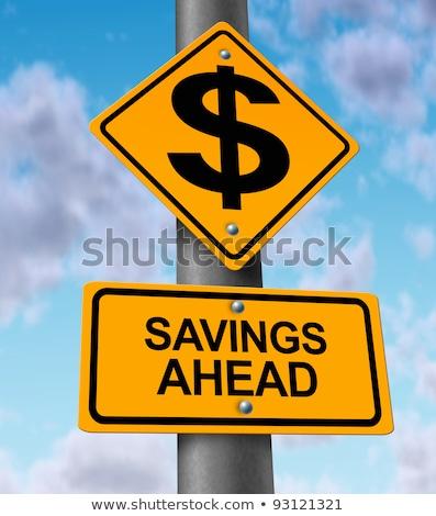 Сток-фото: экономия · впереди · дорожный · знак · высокий · разрешение