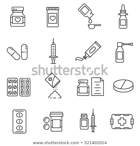 vitamin bottle icon vector outline illustration Stock photo © pikepicture