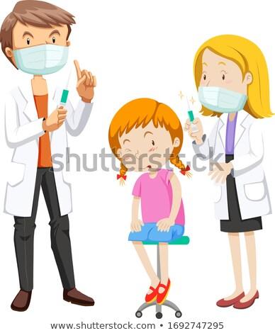 Coronavirus ziek meisje vaccin illustratie arts Stockfoto © bluering