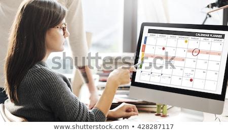 Ligne calendrier affaires planificateur femme fille Photo stock © AndreyPopov