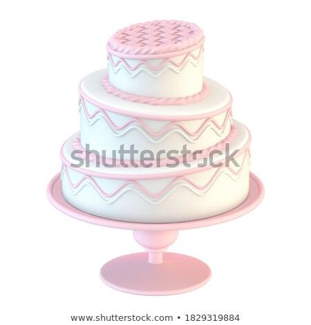 Roze witte cake golfpatroon 3D 3d render Stockfoto © djmilic