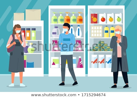 Unhealthy people in face medical masks coughing and standing at distance in supermarket Stock photo © robuart
