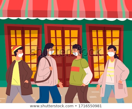 People don't keep a safe distance during virus pandemia in public place, infected with carrier Stock photo © robuart