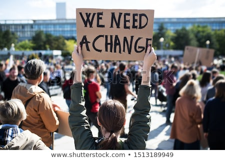siyasi · protesto · gösteri · sokak · ralli · mikrofon - stok fotoğraf © bayberry