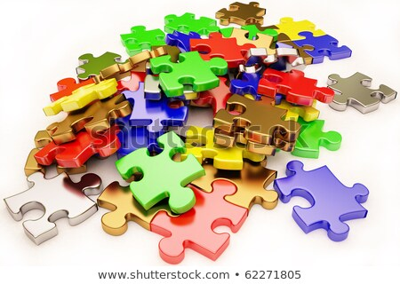 blue silver red yellow green puzzle pieces stock photo © experimental