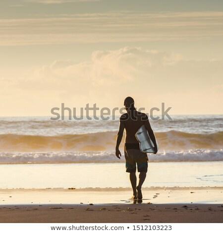 sörfçü · adam · yürüyüş · sörf · tahta · plaj - stok fotoğraf © homydesign