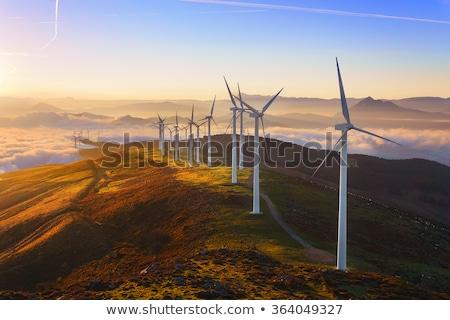 Paisagem turbina eólica planeta montanhas flor nuvens Foto stock © mariephoto