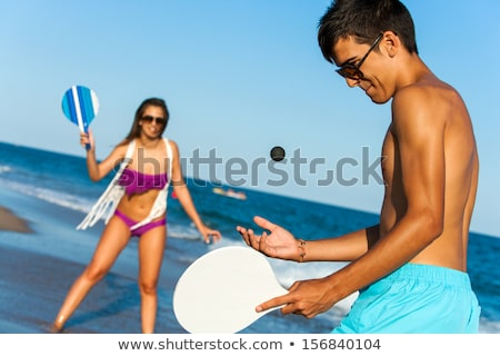 couple · plage · jouer · femme · été · souriant - photo stock © photography33