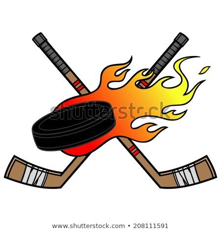 Hockey Sticks and Puck Flaming Cartoon Illustration Stock photo © chromaco