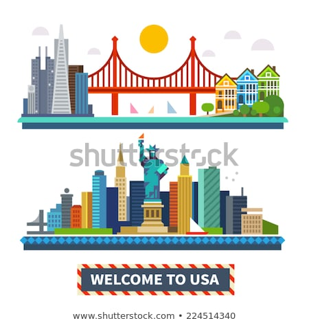 cartoon · San · Francisco · skyline · silhouette · città · California - foto d'archivio © blamb