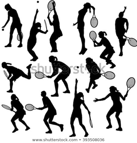 Tenis oyuncular siluetleri ayarlamak spor arka plan Stok fotoğraf © Kaludov