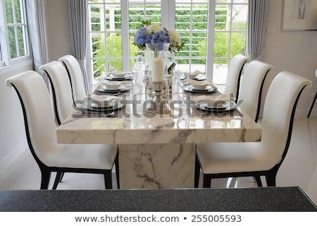 tablo · ayarlamak · yemek · masası · çiçekler · düğün · cam - stok fotoğraf © photovibes