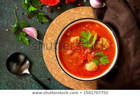 томатный · суп · чаши · помидоров · базилик · избирательный · подход · продовольствие - Сток-фото © m-studio