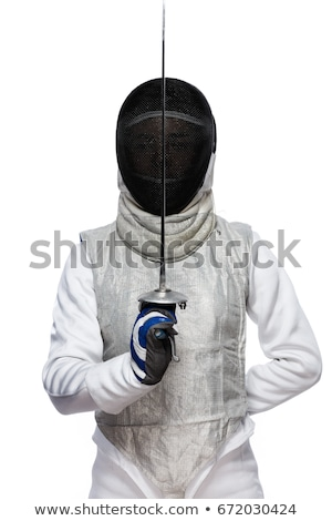 fencers sword and mask on a white background stock photo © pedromonteiro