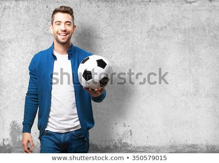 Stock fotó: Jóképű · férfi · tart · futballabda · fehér · sportos · férfi