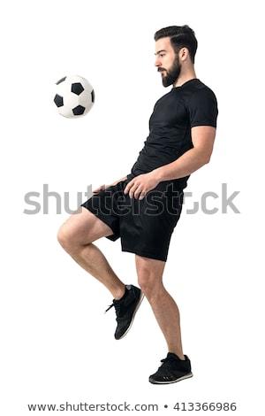 encajar · muscular · hombre · balón · de · fútbol · blanco · fútbol - foto stock © dash