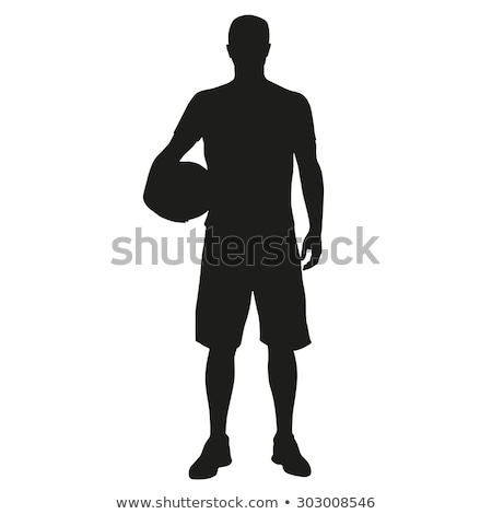 Handsome basketball player holding ball on white stock photo © dash