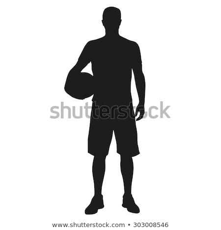 jóképű · kosárlabdázó · tart · labda · fehér · szexi - stock fotó © dash