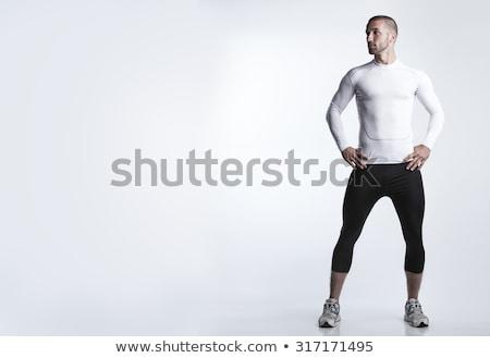 Foto stock: Retrato · masculino · atleta · muscular · branco · isolado