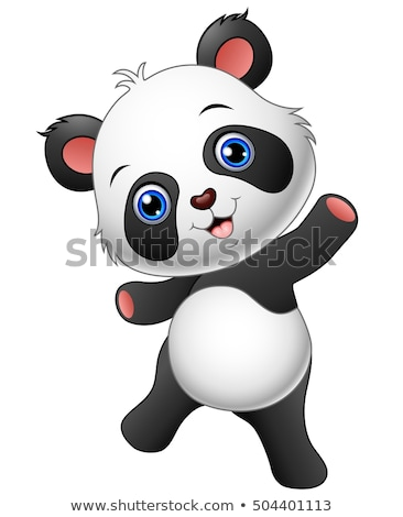 Panda cartoon hand zwarte retro Stockfoto © dagadu