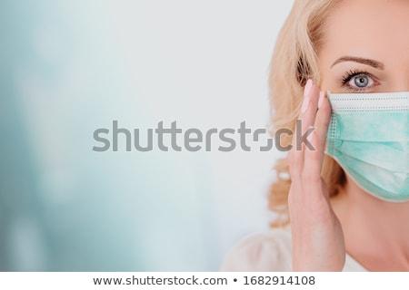 nők · gyógyszer · maszk · hideg · influenza · betegség - stock fotó © piedmontphoto