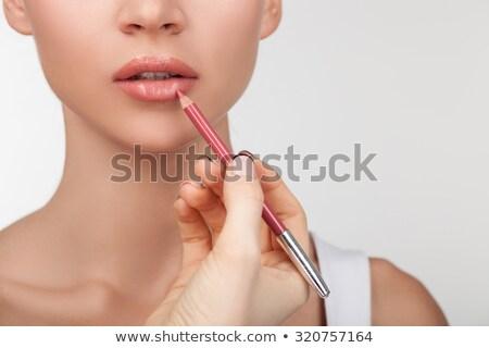 Kadın dudak makyaj kalem yüz Stok fotoğraf © photography33
