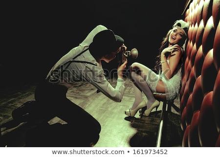 loiro · seis · liga · meias · branco · mulher - foto stock © dolgachov