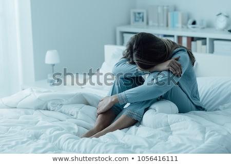 ストックフォト: うつ病 · 十代の少女 · 壁 · 落ち込んで · 女性 · 小さな