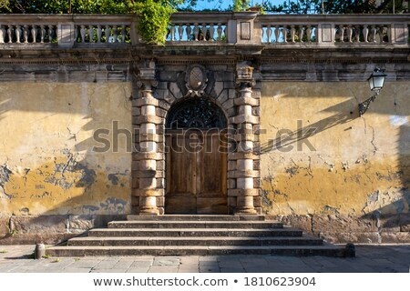 ív · fából · készült · mediterrán · ajtó · ház · textúra - stock fotó © wjarek