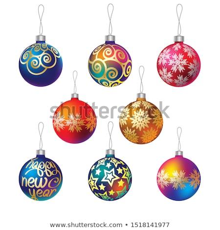 Stock photo: Christmas balls with stars. EPS 8