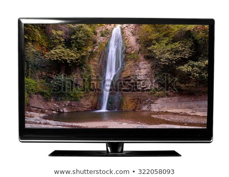 wide screen tv display with waterfall isolated on white stock photo © ozaiachin