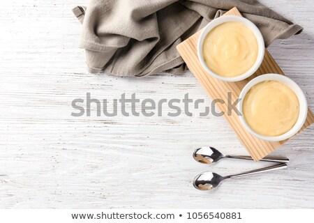 Pudding ingrediënten eigengemaakt vanille bosbessen vers Stockfoto © IngaNielsen