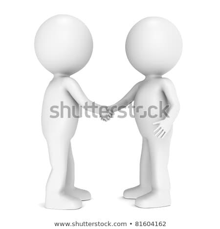 3d little human characters shaking hands stock photo © tashatuvango