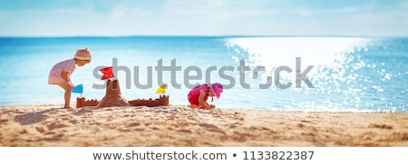 kislány · épület · homokvár · napos · eps10 · vektor - stock fotó © involvedchannel
