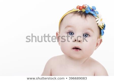 menina · branco · folha · sorrir · criança - foto stock © stockyimages