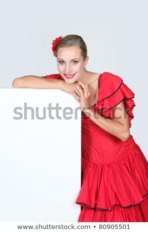 Mulher flamenco conselho pronto mensagem vermelho Foto stock © photography33