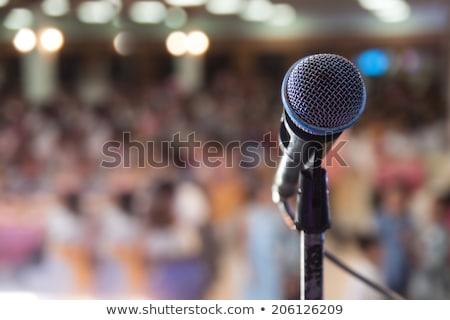 etapa · retro · microfone · azul · cortina · madeira - foto stock © supertrooper