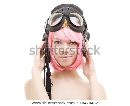 ピンク · 髪 · 少女 · ヘルメット · 画像 · 女性 - ストックフォト © dolgachov