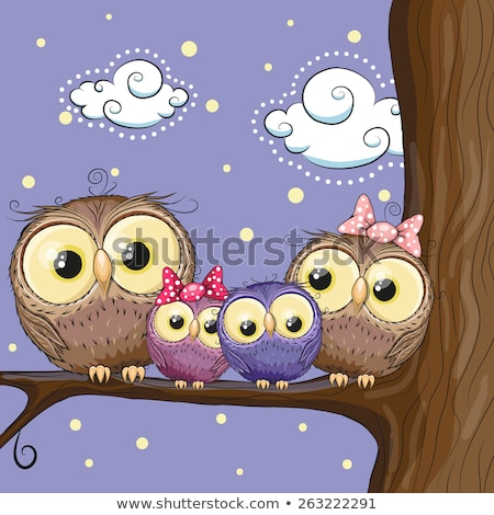 Stok fotoğraf: Owl Bird Family At Tree Branch Cartoon
