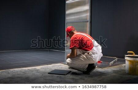 Munkás térdel iroda férfi munka férfiak Stock fotó © photography33