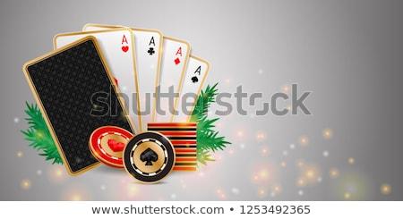 Karácsony póker piros arany buli szív Stock fotó © carodi