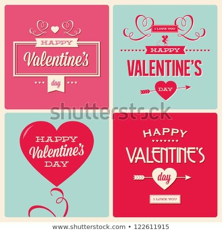 Heureux saint valentin carte amour police type Photo stock © thecorner