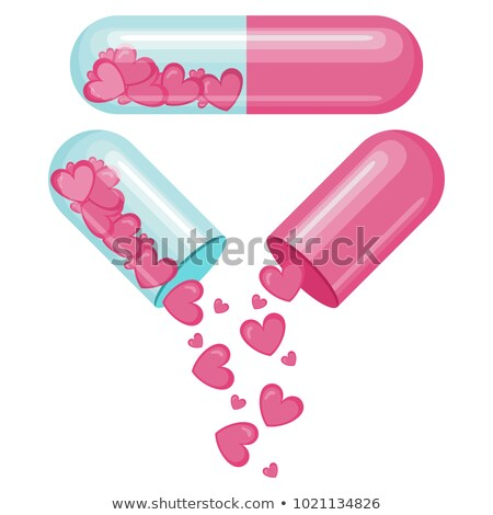 red love pills inside capsule 3d illustration isolated on white stock photo © grasycho