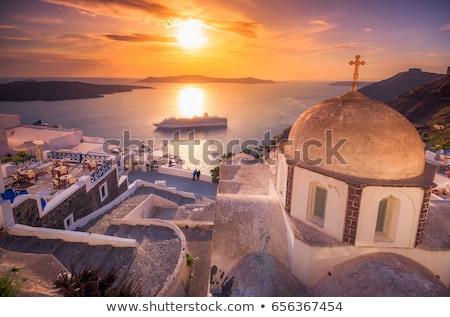 круиз · суда · Санторини · Греция · острове · небе - Сток-фото © ElinaManninen