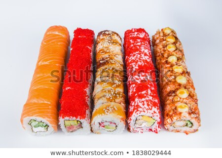 sushis · plaque · noir · cailloux · poissons · fond - photo stock © tab62