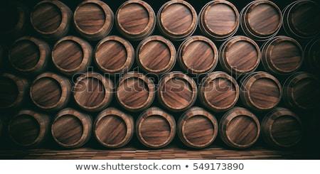 cerveza · barril · trigo · mesa · de · madera · luz · vidrio - foto stock © bigjohn36