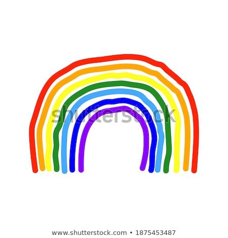 カラフル 塗料 鉛筆 ベクトル 虹 空 ストックフォト © krabata