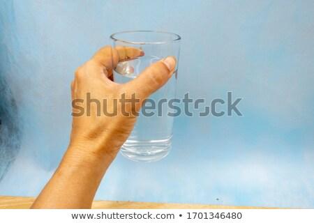 Uno vidrio vacío vaso azul Foto stock © alex_l