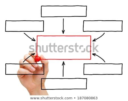 Projekt vezetőség folyamatábra piros jelző fehér Stock fotó © ivelin